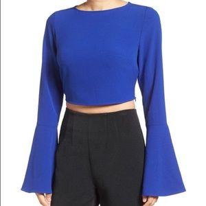 Kendall + Kylie Women's Blue Bell Sleeve Crop Top